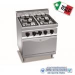 Cucina a Gas 4 fuochi su forno a gas GN1/1
