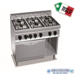 Cucina a Gas 6 fuochi su forno a gas GN1/1