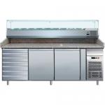 Banco refrigerato pizzeria profondità mm.800 + cassettiera