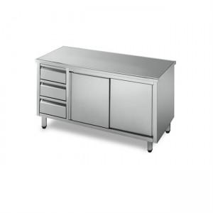 Tavolo armadiato acciaio inox con cassettiera prof.700