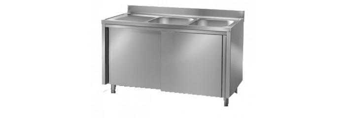 Lavelli in acciaio inox a 1 o 2 vasche con sgocciolatoio a giorno e armadiato. - Forni e ...