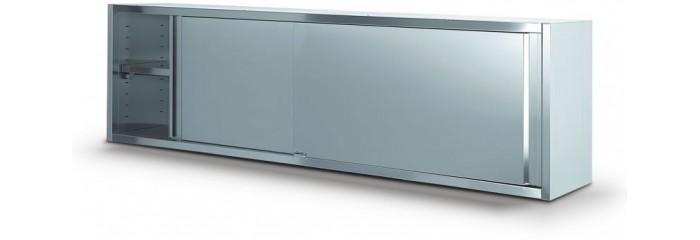 Pensili in acciaio inox aperti o chiusi con scorrevoli piani interni lisci forati e scolapiatti.